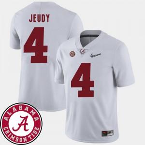 Men #4 Bama 2018 SEC Patch Football Jerry Jeudy college Jersey - White