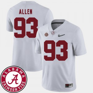 Men 2018 SEC Patch Bama Football #93 Jonathan Allen college Jersey - White