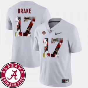 Men's #17 Alabama Crimson Tide Football Pictorial Fashion Kenyan Drake college Jersey - White