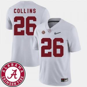 Men #26 Football 2018 SEC Patch University of Alabama Landon Collins college Jersey - White