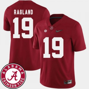 Men's Football University of Alabama 2018 SEC Patch #19 Reggie Ragland college Jersey - Crimson