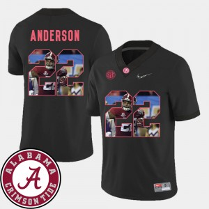 Mens #22 Football Alabama Roll Tide Pictorial Fashion Ryan Anderson college Jersey - Black