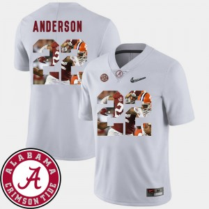 Men's #22 Football Alabama Crimson Tide Pictorial Fashion Ryan Anderson college Jersey - White