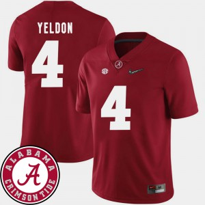 Men's Alabama Crimson Tide #4 Football 2018 SEC Patch T.J. Yeldon college Jersey - Crimson