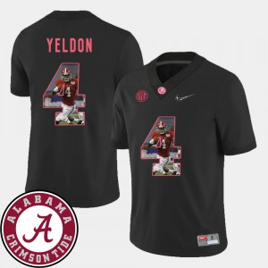 Mens #4 Football Pictorial Fashion Alabama Roll Tide T.J. Yeldon college Jersey - Black