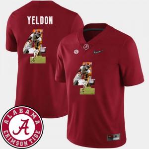 Mens #4 Football Alabama Crimson Tide Pictorial Fashion T.J. Yeldon college Jersey - Crimson