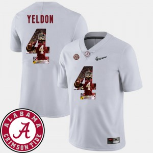 Men's Pictorial Fashion University of Alabama Football #4 T.J. Yeldon college Jersey - White