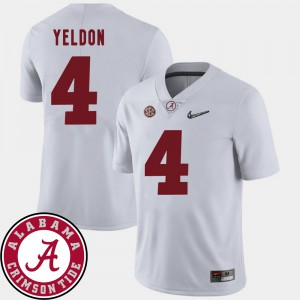 Men's 2018 SEC Patch Roll Tide #4 Football T.J. Yeldon college Jersey - White