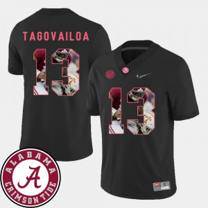Men's #13 Football Roll Tide Pictorial Fashion Tua Tagovailoa college Jersey - Black