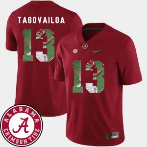 Men's Pictorial Fashion #13 Bama Football Tua Tagovailoa college Jersey - Crimson