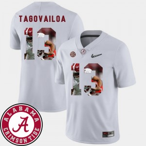 Men's #13 Alabama Football Pictorial Fashion Tua Tagovailoa college Jersey - White