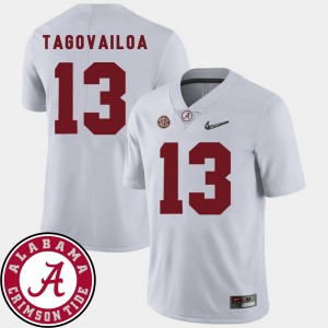 Men #13 2018 SEC Patch Football Alabama Roll Tide Tua Tagovailoa college Jersey - White